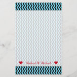 [ Thumbnail: Custom Name + Light Blue & Black Wave Pattern Stationery ]