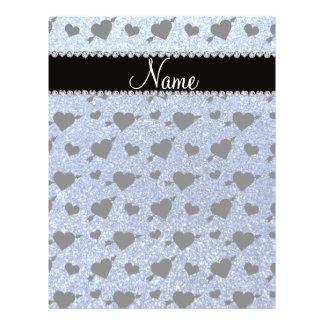 Custom name light blue glitter hearts arrows flyers
