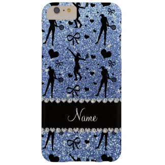 Custom name light blue glitter tennis hearts bows barely there iPhone 6 plus case
