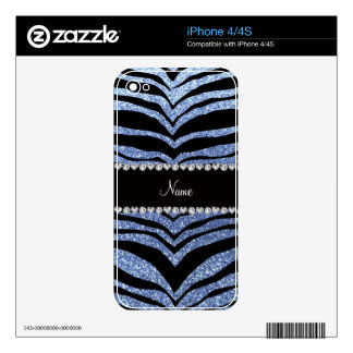 Custom name light blue glitter tiger stripes decals for the iPhone 4