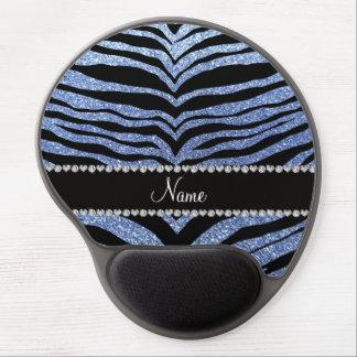 Custom name light blue glitter tiger stripes gel mouse pads