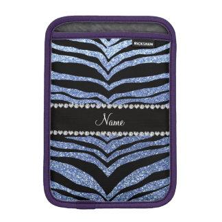 Custom name light blue glitter tiger stripes iPad mini sleeve