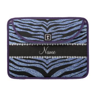 Custom name light blue glitter tiger stripes sleeve for MacBook pro