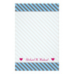 [ Thumbnail: Custom Name + Light Blue & Gray Stripes Pattern Stationery ]