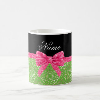 Custom name light green damask pink glitter bow coffee mug