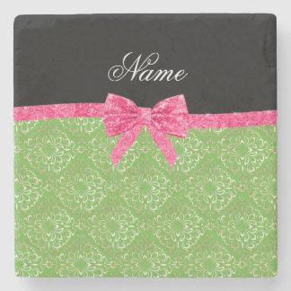 Custom name light green damask pink glitter bow stone coaster