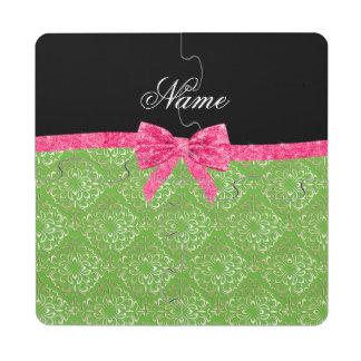 Custom name light green damask pink glitter bow puzzle coaster