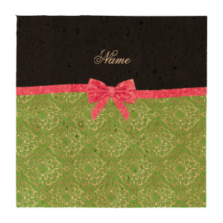 Custom name light green damask pink glitter bow beverage coasters
