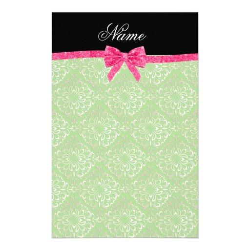 Custom name light green damask pink glitter bow custom stationery