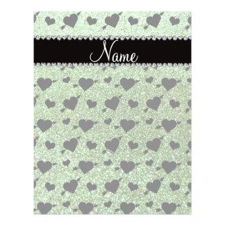 Custom name light green glitter hearts arrows custom flyer