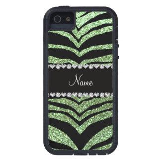 Custom name light green glitter tiger stripes case for iPhone 5