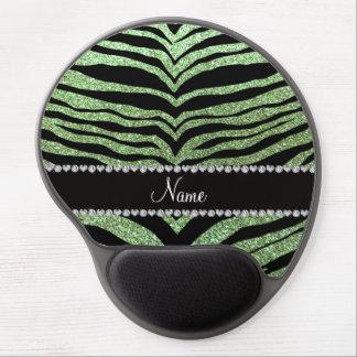 Custom name light green glitter tiger stripes gel mousepads