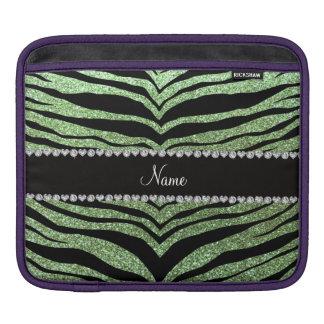 Custom name light green glitter tiger stripes iPad sleeves