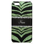 Custom name light green glitter tiger stripes iPhone 5C cases