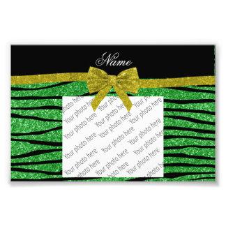 Custom name light green glitter zebra stripes bow art photo