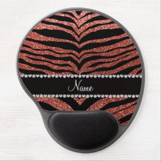 Custom name light orange glitter tiger stripes gel mousepad