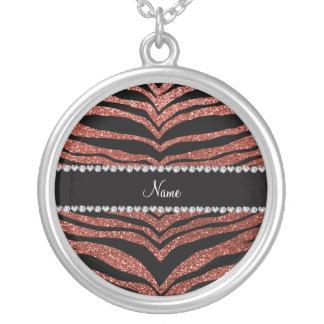 Custom name light orange glitter tiger stripes necklaces