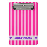 [ Thumbnail: Custom Name + Light Pink & Deep Pink Stripes Clipboard ]