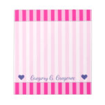 [ Thumbnail: Custom Name + Light Pink & Deep Pink Stripes Notepad ]