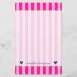 [ Thumbnail: Custom Name + Light Pink & Deep Pink Stripes Stationery ]