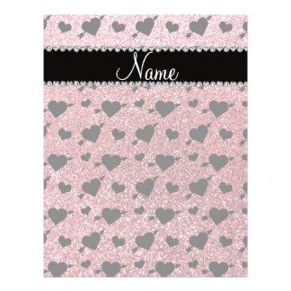 Custom name light pink glitter hearts arrows full color flyer