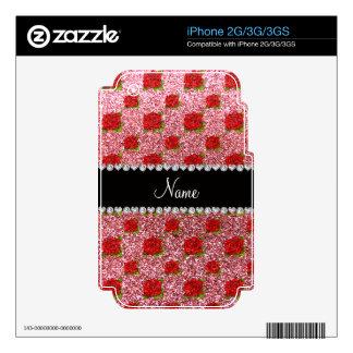 Custom name light pink glitter roses iPhone 3G decal