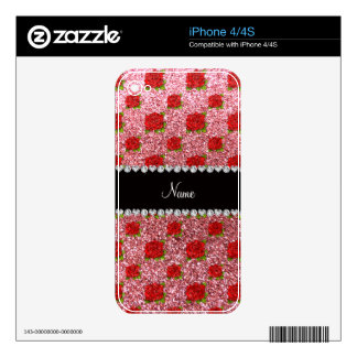 Custom name light pink glitter roses decal for iPhone 4
