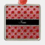 Custom name light pink glitter roses square metal christmas ornament