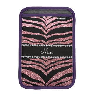 Custom name light pink glitter tiger stripes iPad mini sleeves