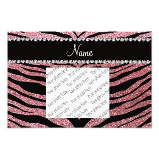 Custom name light pink glitter tiger stripes photo print