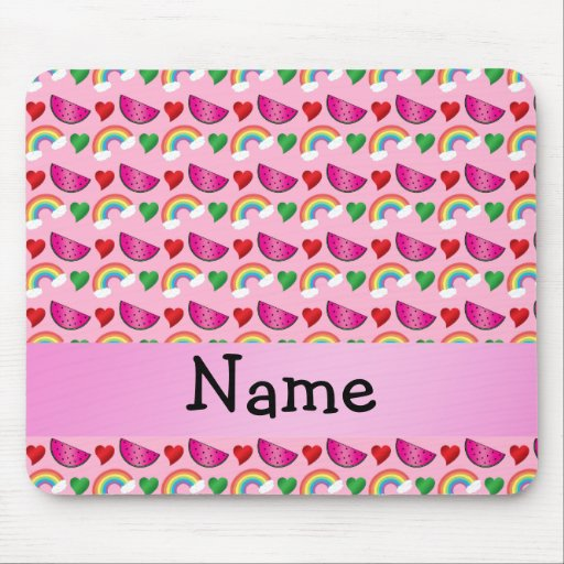 Custom name light pink watermelons rainbows hearts mouse pad