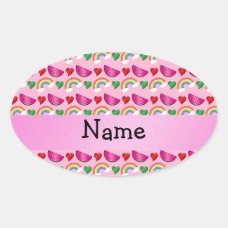 Custom name light pink watermelons rainbows hearts oval sticker