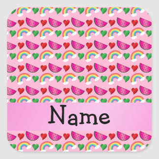 Custom name light pink watermelons rainbows hearts square sticker