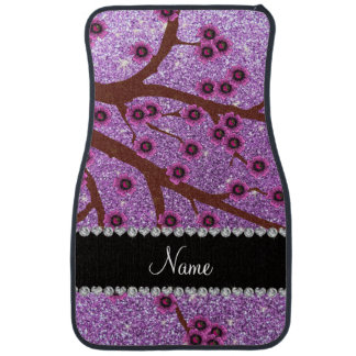 Custom name light purple glitter cherry blossoms car mat
