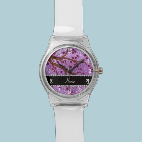 Custom name light purple glitter cherry blossoms watches