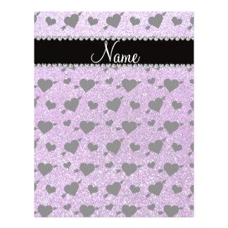 Custom name light purple glitter hearts arrows flyer design