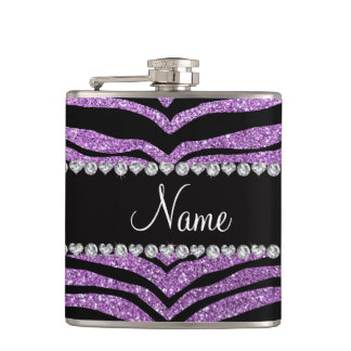 Custom name light purple glitter tiger stripes flask