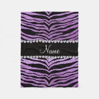 Custom name light purple glitter tiger stripes fleece blanket