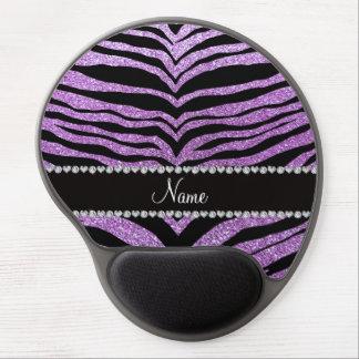 Custom name light purple glitter tiger stripes gel mousepads