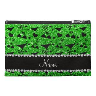 Custom name lime green glitter bikini bows travel accessories bag