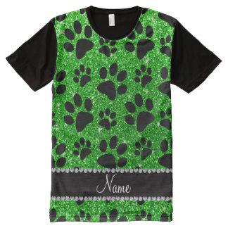 Custom name lime green glitter black dog paws All-Over print t-shirt