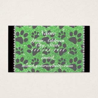 Custom name lime green glitter black dog paws business card