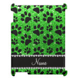 Custom name lime green glitter black dog paws case for the iPad 2 3 4