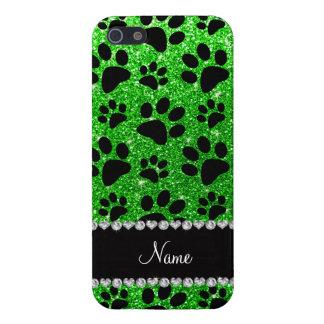 Custom name lime green glitter black dog paws cover for iPhone SE/5/5s