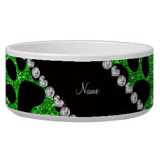 Custom name lime green glitter black dog paws dog water bowl