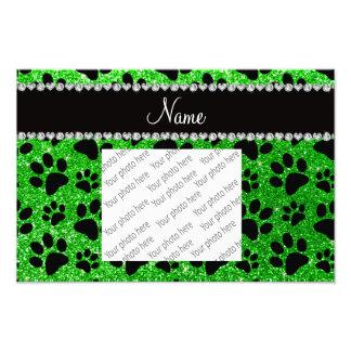 Custom name lime green glitter black dog paws photo print