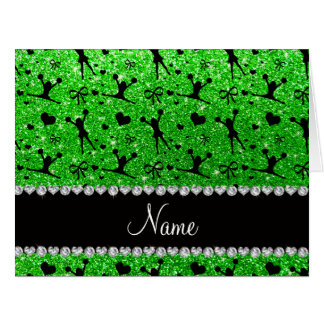 Custom name lime green glitter cheerleading card