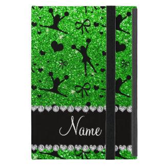 Custom name lime green glitter cheerleading case for iPad mini