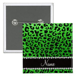 Custom name lime green glitter cheetah print 2 inch square button