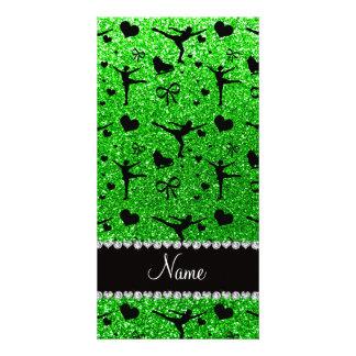 Custom name lime green glitter figure skating photo card